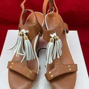 G.I.L.I. Cork Leather Wedge Sandals